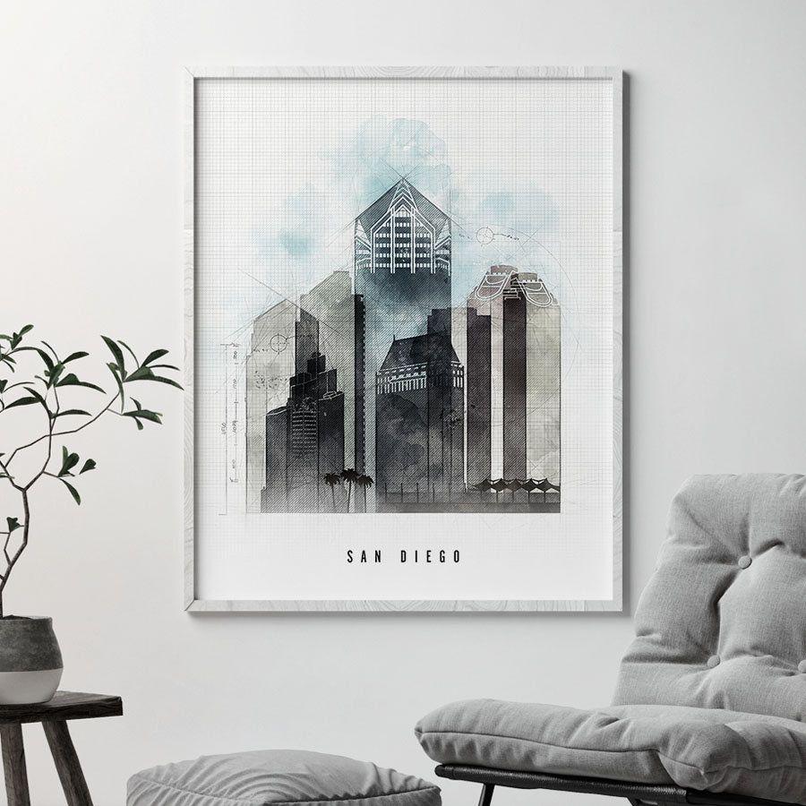 San Diego art, San Diego print, San Diego skyline poster