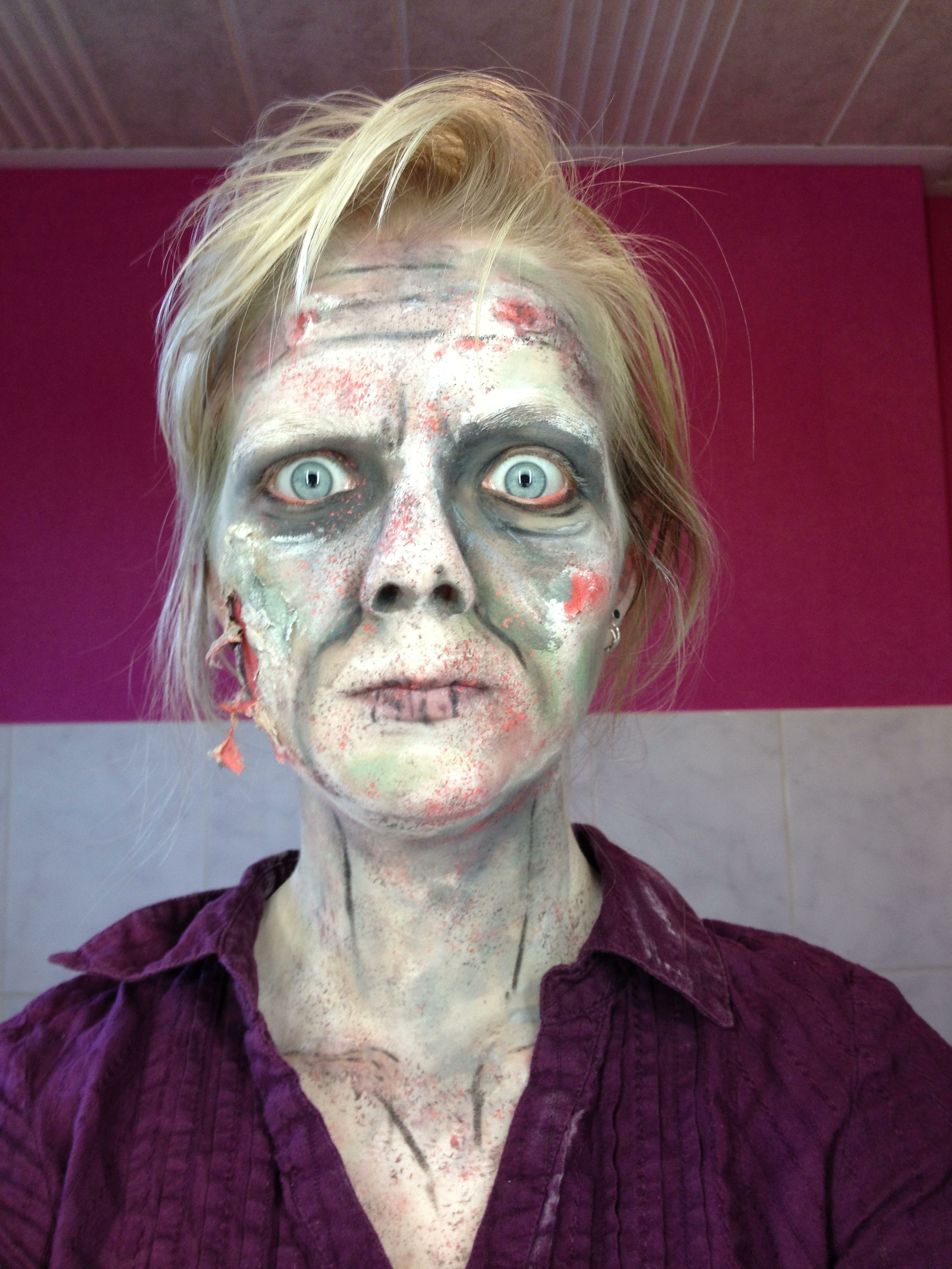 Zombie makeup tryout for halloween. thanks to a lot of
