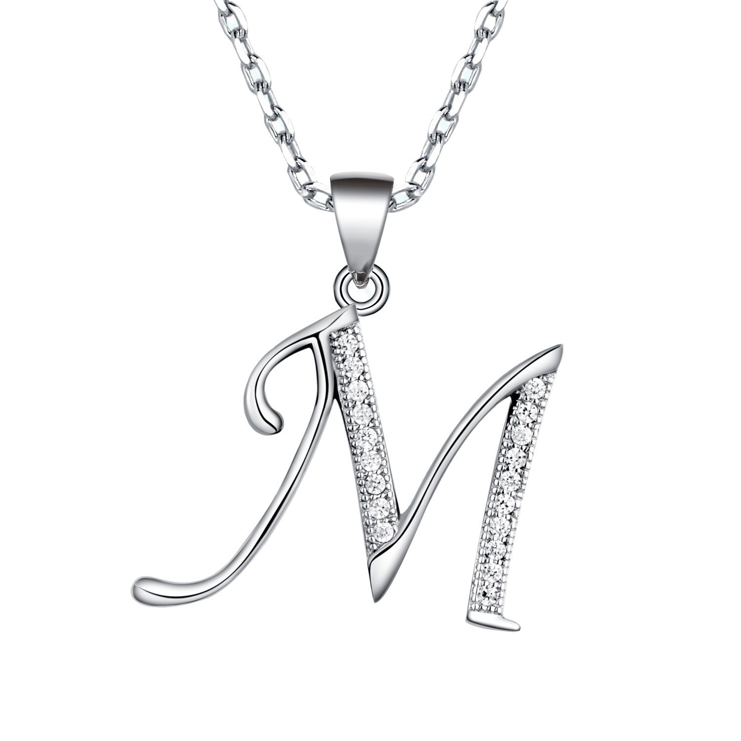 6d9cda1fa6b65 Letters Initial Necklace in Sterling Silver ( A ~ Z ) | ♥ Silver ...