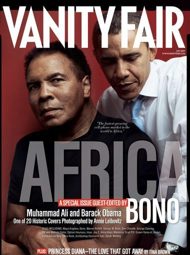 The cover of the July 2007 issue featured legendary boxer Muhammad Ali and then-senator Barack Obama.
