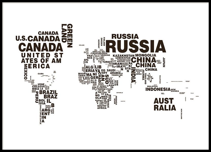 Schwarz wei poster mit weltkarte mit den lndern in textform tolle world map poster black and white print with many countries and text fits many decorating styles you can find more stylish prints with world maps and gumiabroncs Choice Image