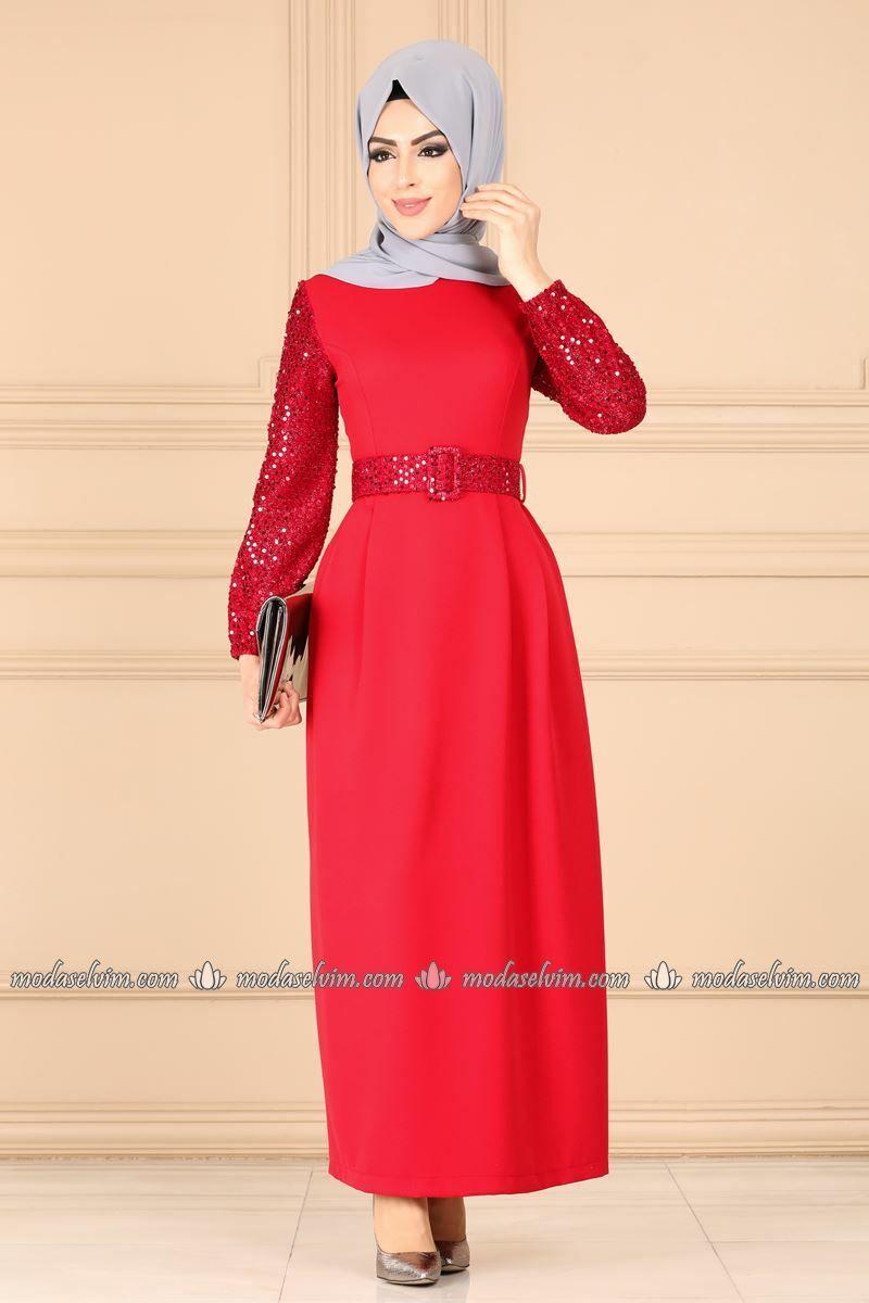 Moda Selvim Kol Ve Kemeri Payetli Elbise 4183so376 Kirmizi Dresses Fashion High Neck Dress