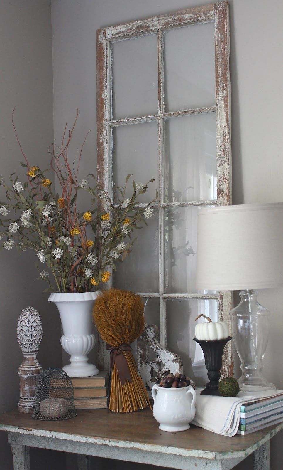Window decor for fall  fall decor with a neutral feel for our sunroom  using the leaf