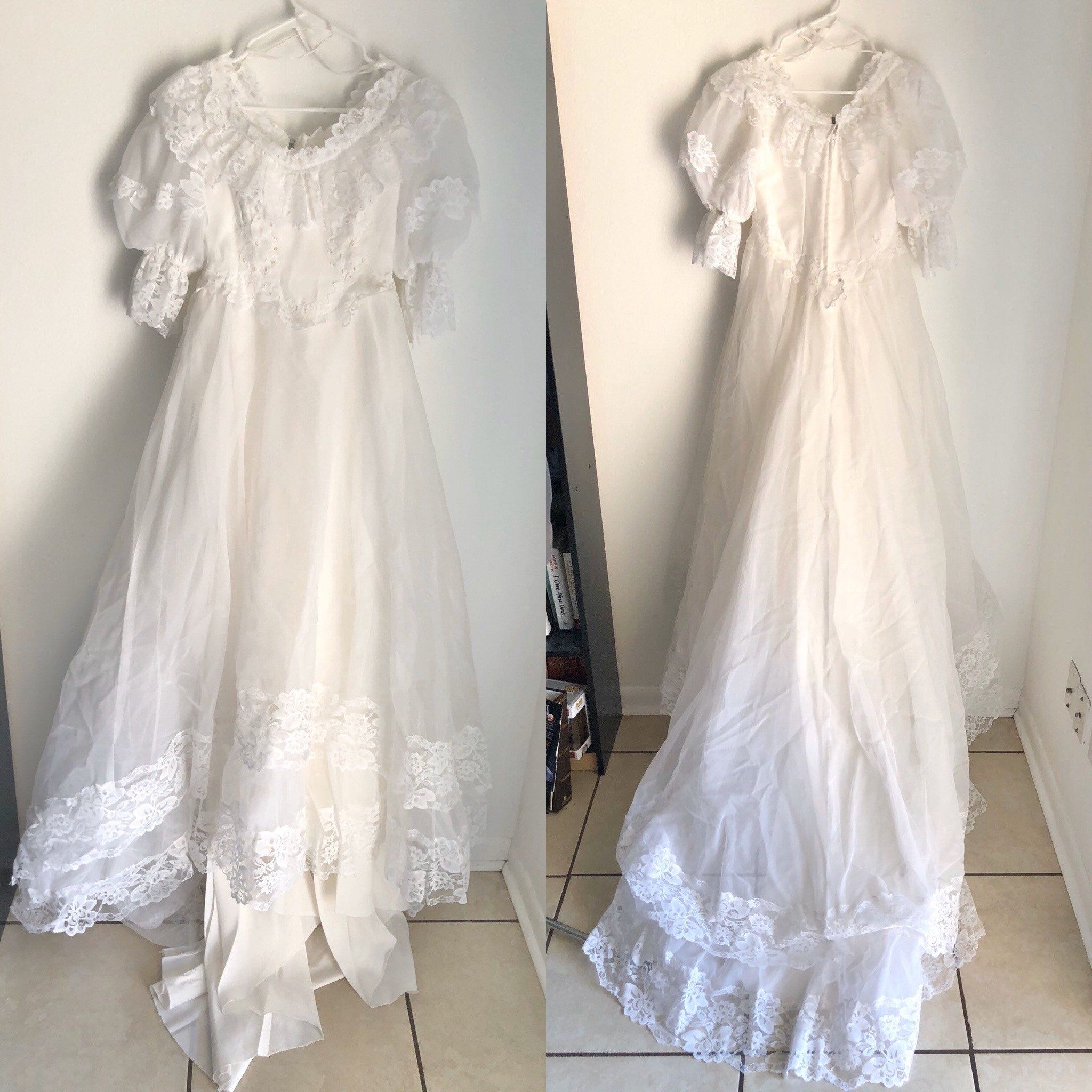 Vintage 80s 90s Jcpenney Southern Belle Style Wedding Dress Size 7 8 Organza Taffeta Lace Tra Wedding Dress Sizes Vintage Dresses Flower Girl Dresses [ 2048 x 2048 Pixel ]