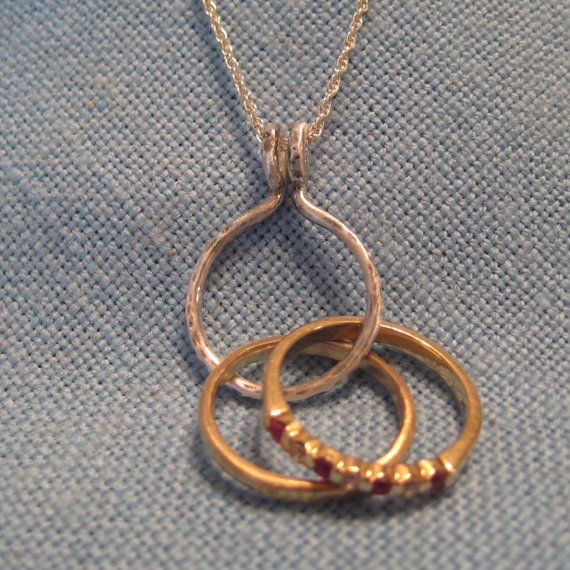 engagement ring holder necklace 14k gold wedding by jjdljewelryart - Wedding Ring Holder Necklace