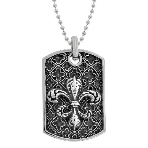 "Men's Stainless Steel Fleur-de-Lis Dog Tag Pendant Necklace, 22"" Amazon Curated Collection. $19.00. Made in China"
