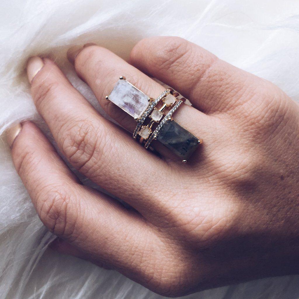 Emerald Cut Labradorite Stacking Ring   Emerald cut, Labradorite and ...