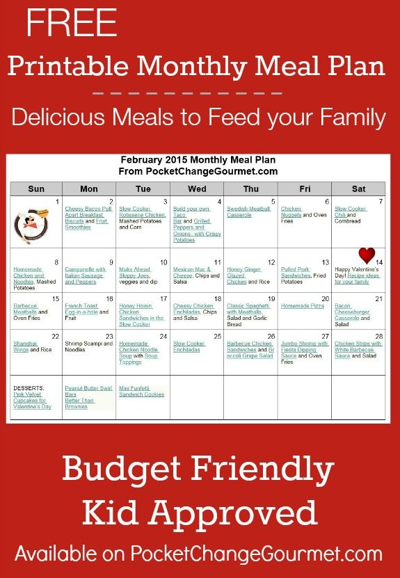 Printable Menu Plan Others meal plans Pinterest Menu planning - budget plans for families