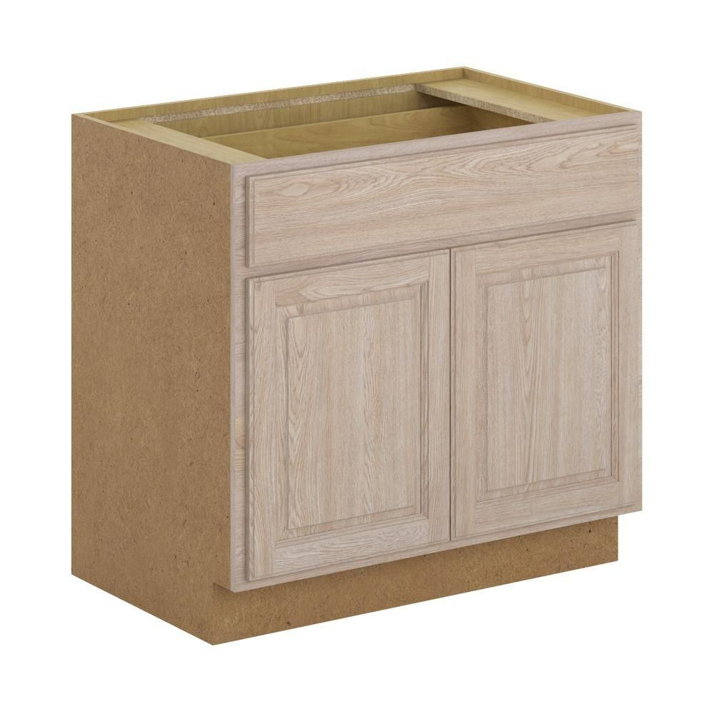 Hampton Bay Stratford Assembled 36x34 5x24 In Base Cabinet With Soft Close Drawer In Unfinished Oak B36 Muo Base Cabinets Solid Oak Doors Wood Door Frame