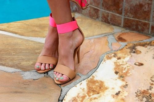 neon pink and tan ankle strap heels