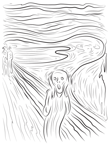 The Scream By Edvard Munch Coloring Page Scream Art Edvard Munch Abstract Art Painting
