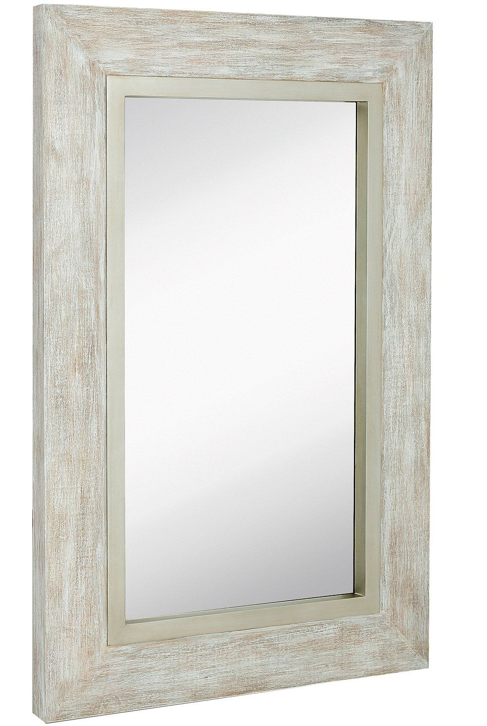 Large white washed framed mirror beach distressed frame - White wood framed bathroom mirrors ...