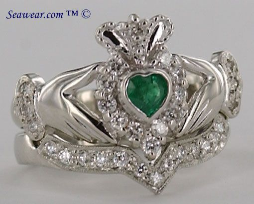 Claddagh Diamond Engagement Ring Claddagh Ring Wedding Irish Wedding Rings Celtic Wedding Rings