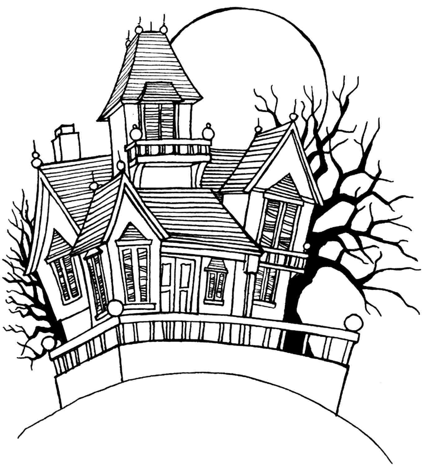 Free Colouring Pages Halloween Haunted House For Kids Girls 58671