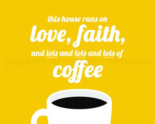 Yellow Printable Wall Art - This House Runs on Love-Faith-Coffee on ...