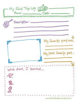 Free Field Trip Log Printable Homeschool Home Schooling
