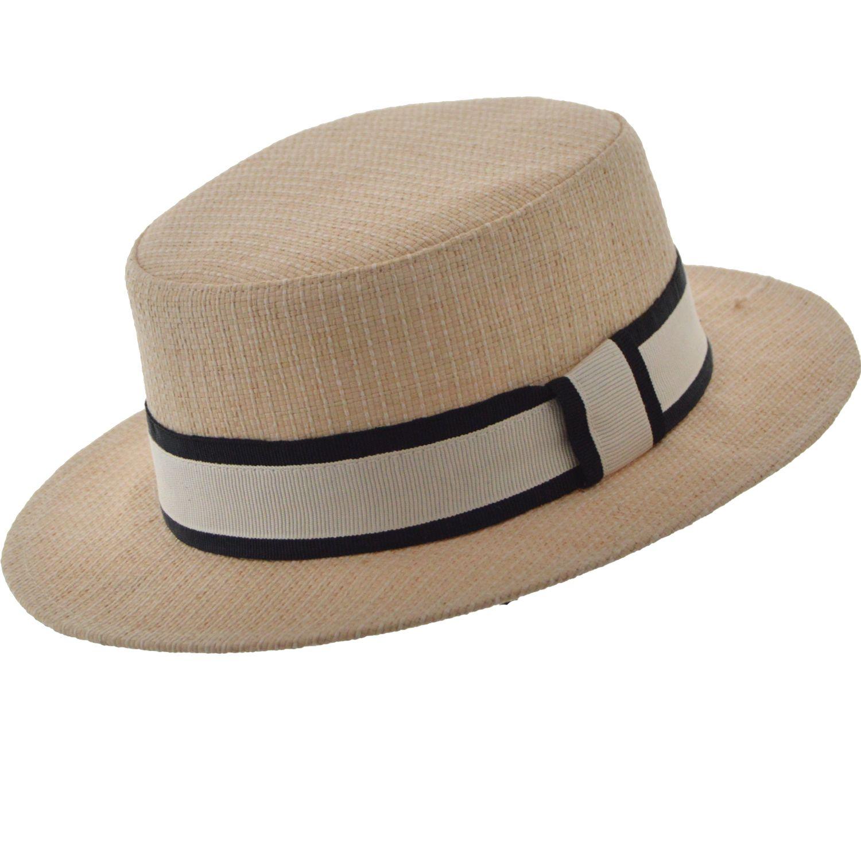 efcf5b0e616b1 SOMBRERO CANOTIER RAFIA MALTA Sombrero modelo Canotier en rafia tejido  artesanal Tafilete interno de elastico para
