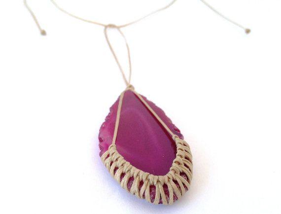 Agate necklace macrame knotted handmade agate di morenamacrame