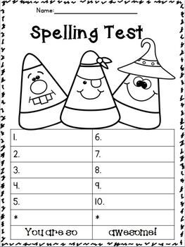 Freebies SeptemberOctober Spelling Test Templates Freebie