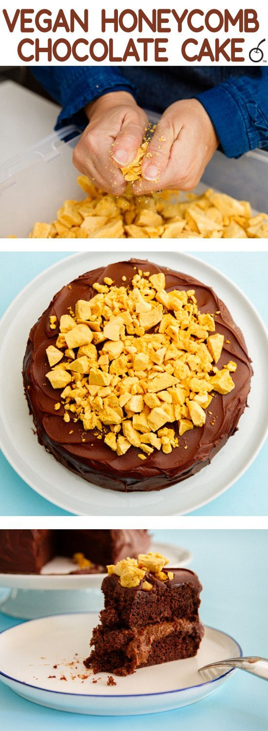 Delicious vegan chocolate cake inspired by Half Baked Harvest and topped with delicious honeycomb candy! #honeycombcandy Delicious vegan chocolate cake inspired by Half Baked Harvest and topped with delicious honeycomb candy! #honeycombcandy