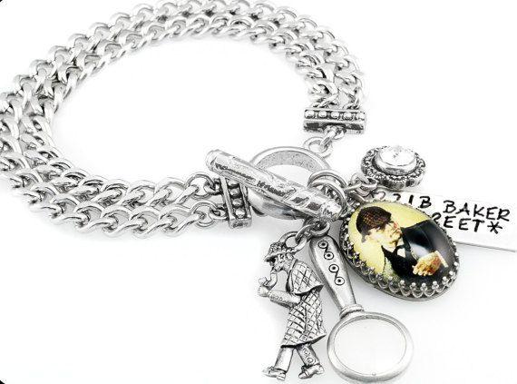 Sherlock Holmes Jewelry, Sherlock Holmes Bracelet, Silver Charm Bracelet, 221B Baker Street