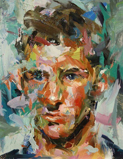 Paul Wright. Blue eyes Oil on board 40cm x 32cm