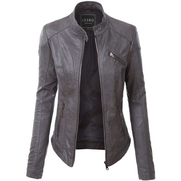 a054b5f5347c LE3NO Womens PU Faux Leather Zip Up Biker Moto Jacket ($45) ❤ liked on  Polyvore featuring outerwear, jackets, coats, fake leather jacket, ...