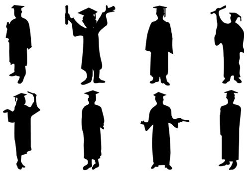 graduate silhouette vector silhouettevector net people vector rh pinterest com Graduation Borders Clip Art Graduation Borders Clip Art