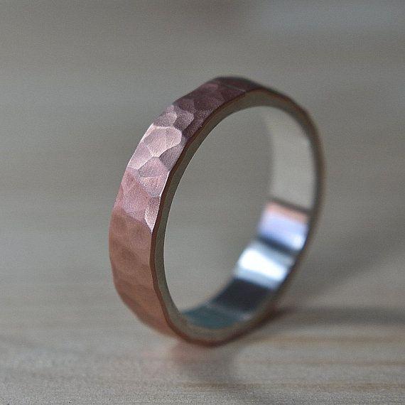 Mens Flat Hammered Copper Wedding Band Matte Ring For Men