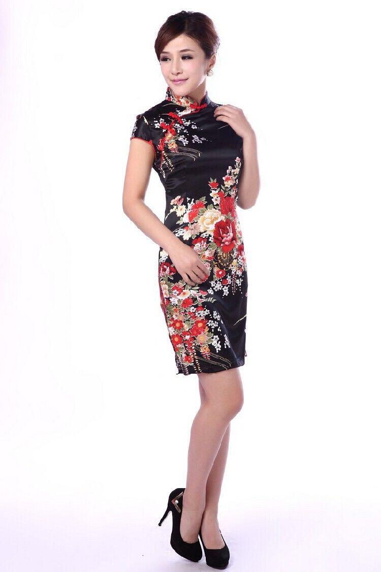 Fashion Black Chinese Women\'s Satin Rayon Qipao Mini Sexy Cheongsam ...