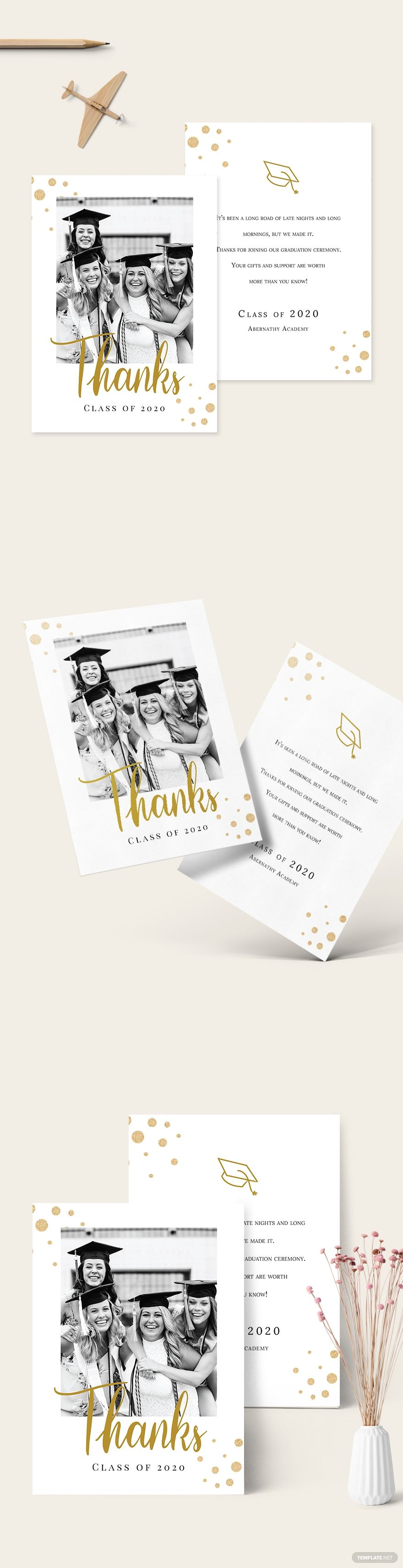 College graduation thank you card template free pdf