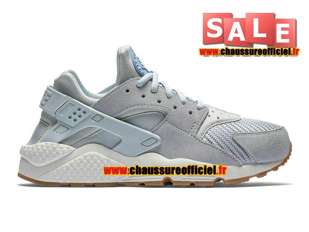best authentic 07aa0 106af Officiel Nike Wmns Air Huarache Textile Chaussure Nike Sportswear Pas Cher  Pour Femme Gris   bleu