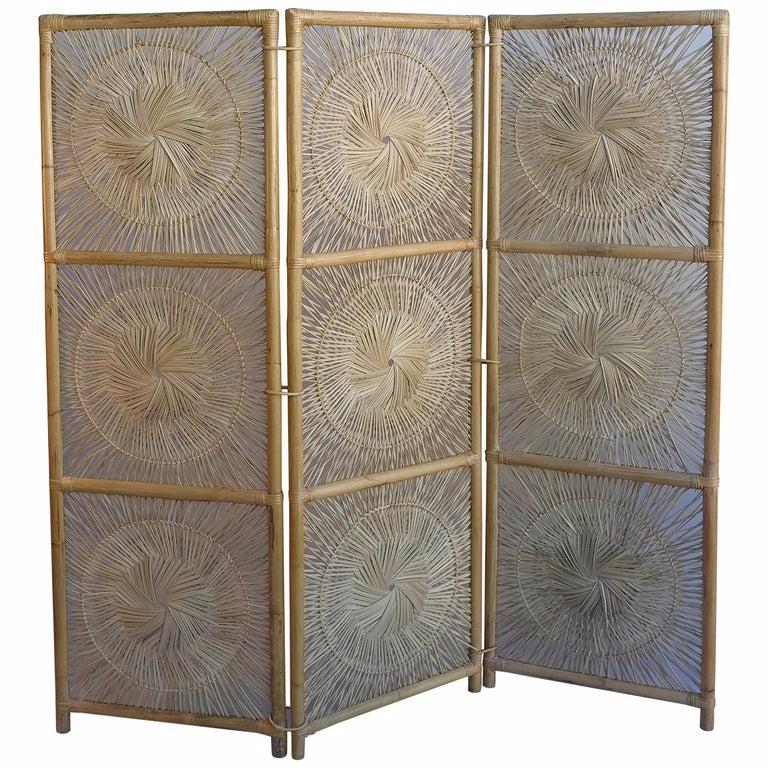 Sculptural Three Panel Midcentury Bamboo Screen Room Divider Decorative Room Dividers Room Divider Sliding Door Room Dividers