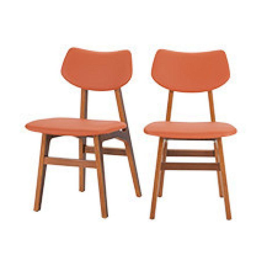 Scandinavische Design Stoelen.2 X Jacob Eetkamerstoelen Amber Oranje En Walnoot
