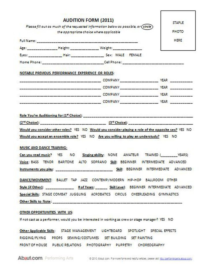 The Best Form To Use When Holding Auditions Ultimate Audition