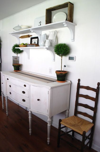 The Ironstone Nest: Open Shelves U0026 A Freshly Painted Buffet   Kitchen Idea