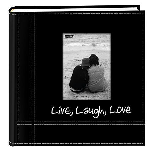 Pioneer Photo Albums Embroidered Live Laugh Love Black Sewn Leatherette Frame Cover Albu