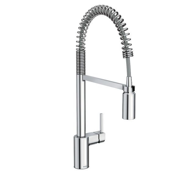 Align Chrome One Handle Pre Rinse Spring Pulldown Kitchen Faucet   5923    Moen