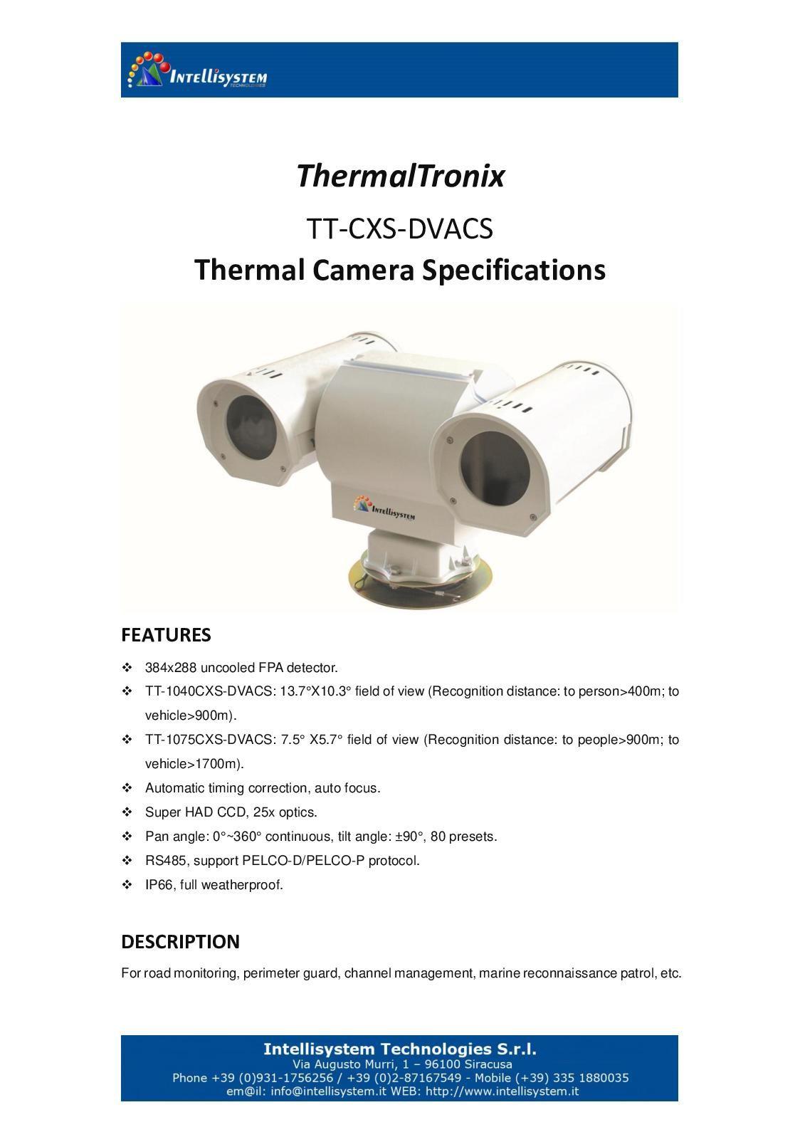 Thermal Tronix Tt Cxs Dvacs Datasheet - SECURITY SYSTEMS