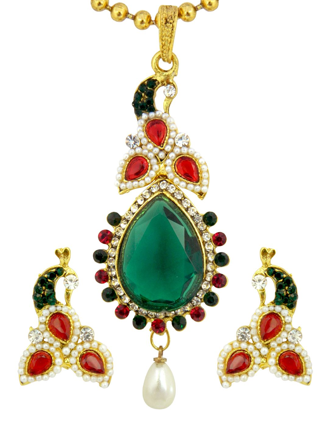 Traditional peacock pendant earring set with chain multicolour