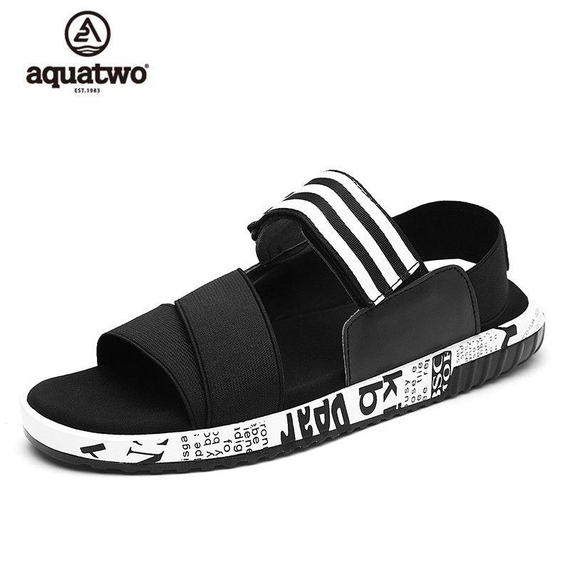 690e6ea4662b AQUATWO 2017 Summer Beach Sandals Rome Fashion Shoes Men Slipper Men Black  PU US6.5-10  Sandalias Hombre Men Sandals Hot Sale