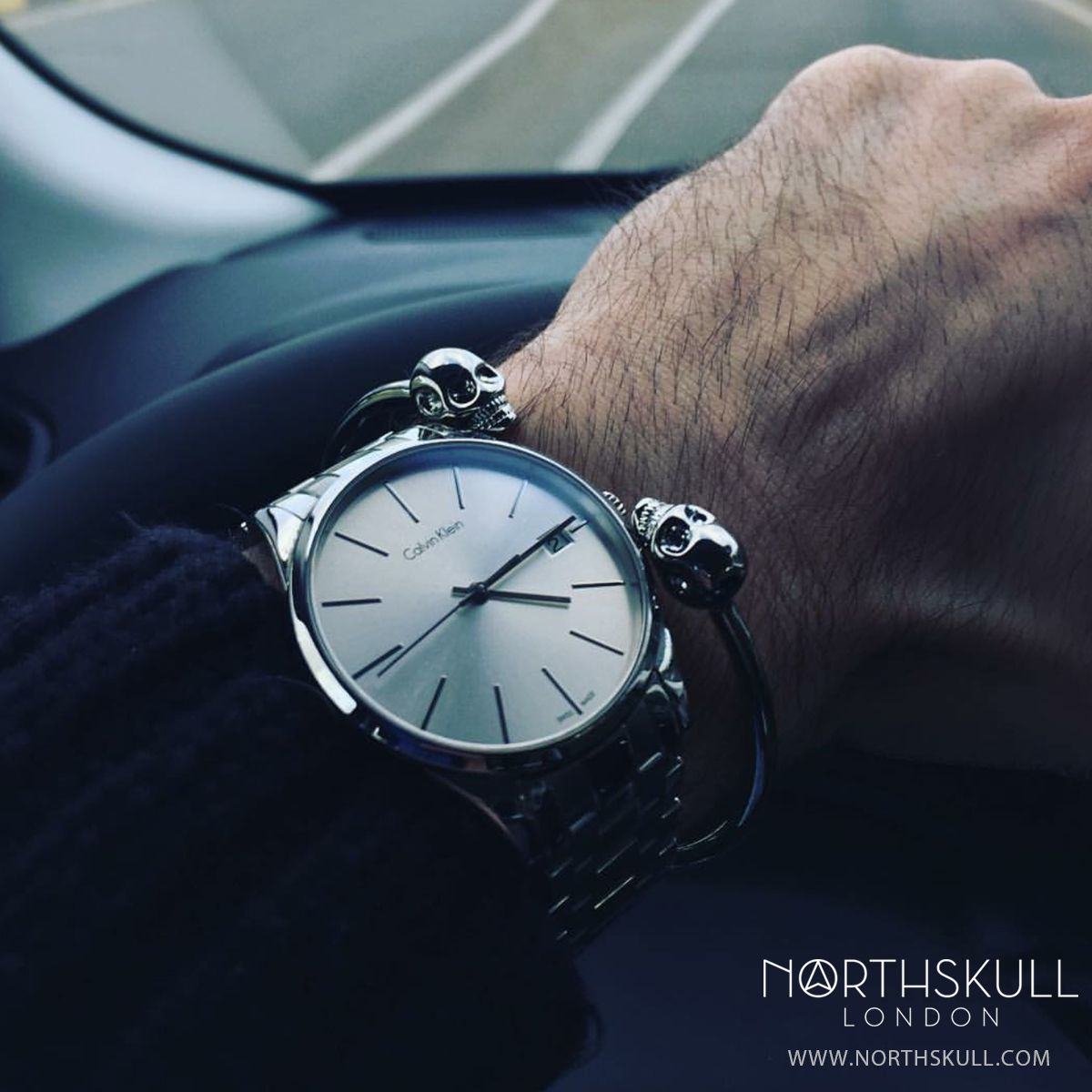Fan Instagram Pic !   @Giordanolamantia posted a cool photo of his Calvin Klein Watch nicely paired with his newly arrived Northskull Silver Twin Skull Bangle. Nice combo  Available now at Northskull.com   For a chance to get featured post a cool photo of your Northskull jewelry with the tag #Northskullfanpic on Instagram