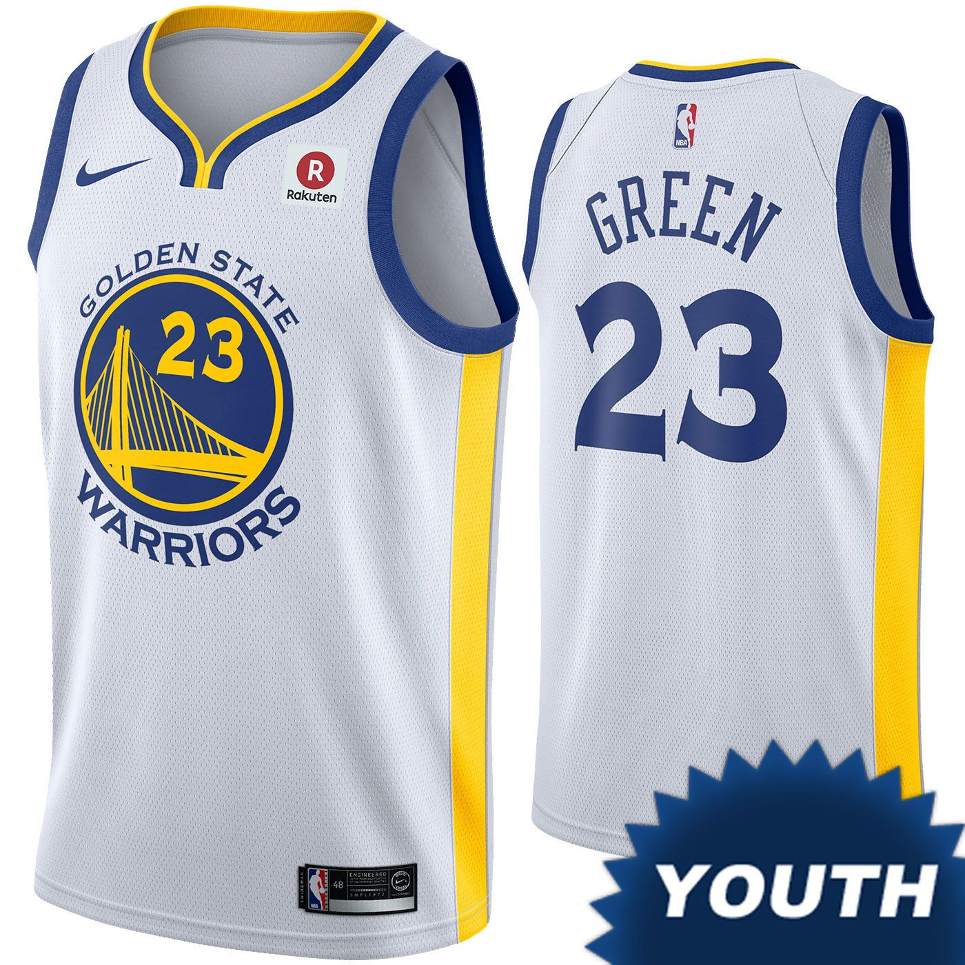 716cd1411a8 Golden State Warriors Nike Dri-FIT Youth Draymond Green  23 Swingman  Association Jersey - White