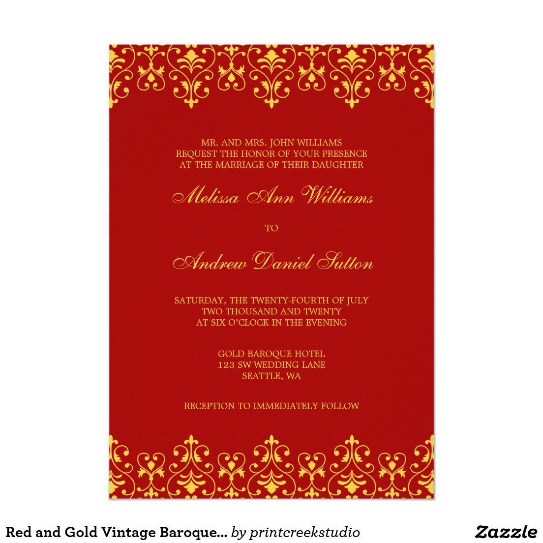 Red and Gold Vintage Baroque Wedding Invitation | Invitations ...