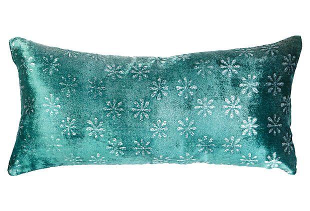 Ditsy Flower 8x16 Pillow, Teal on OneKingsLane.com