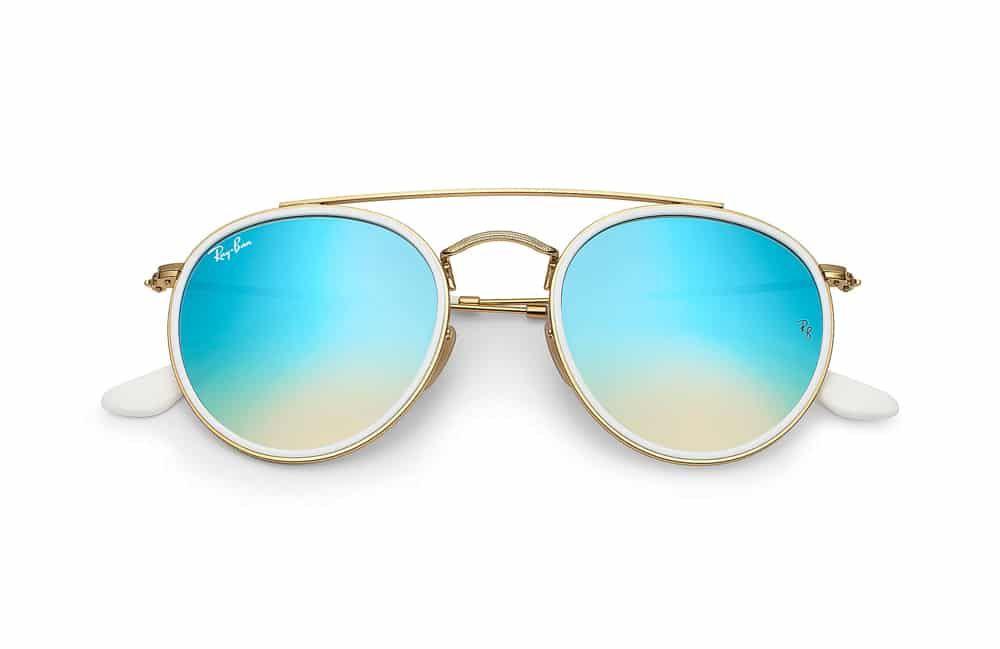 Lunettes Round Ban Ray en soleil bridge double verres et bleus or de 1qHx1rf