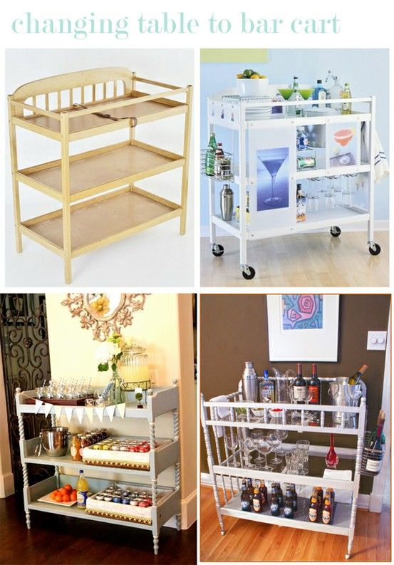 honey and fitz via Dear Owen:  changing table to bar cart. Hmmm idea for pool room...