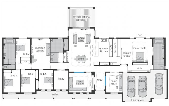 Bronte Floorplans Mcdonald Jones Homes House Plans Australia Farmhouse Floor Plans Rectangle House Plans