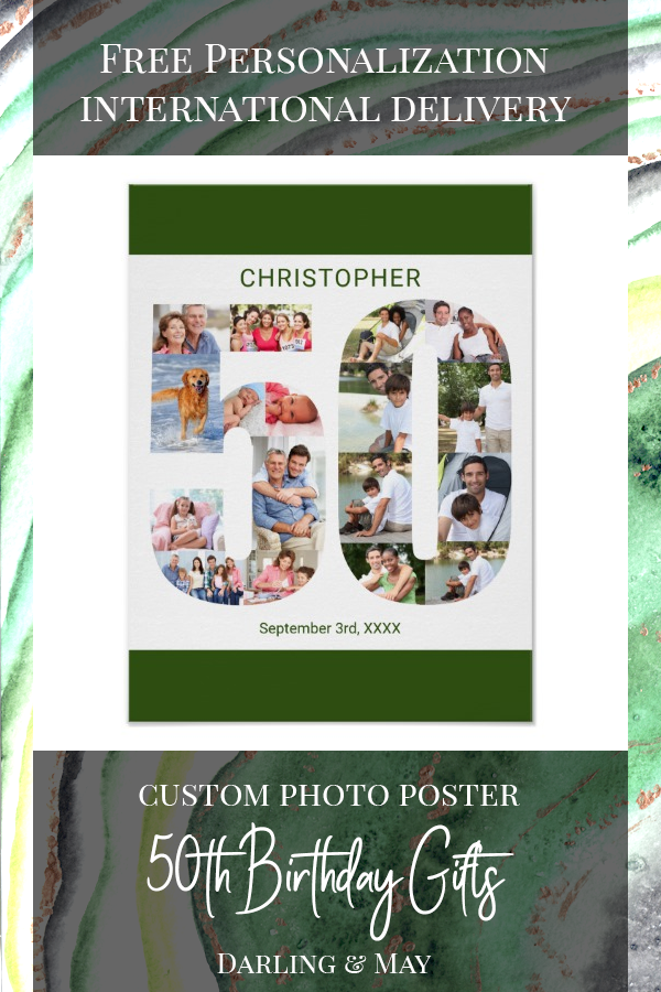 Photo Collage Number 50 Personalized 50th Birthday Poster | Zazzle.com #moms50thbirthday