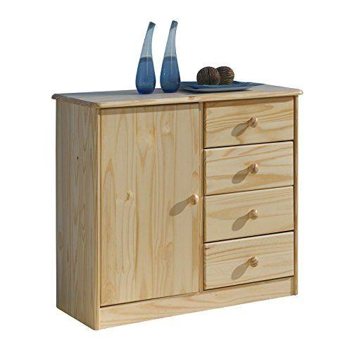 Kommode Anrichte Sideboard RONDO, 1Tür+4 Schubladen, Kiefer massiv - küchenwagen mit schubladen